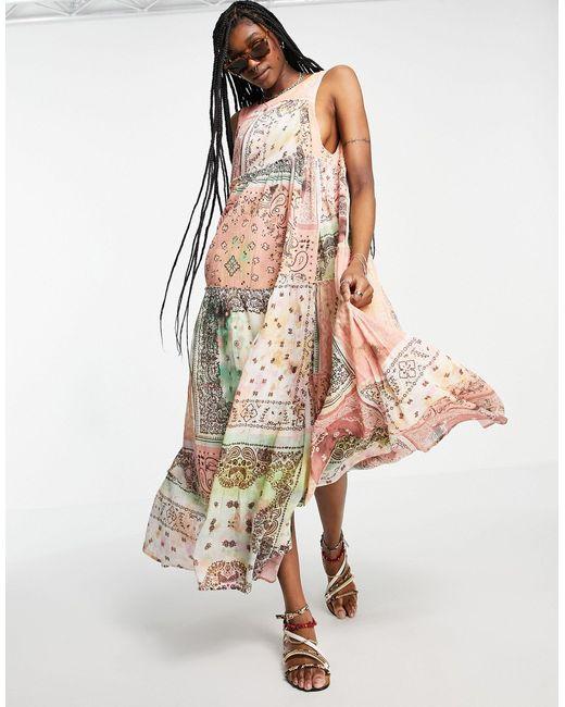 Платье Макси В Стиле Пэчворк С Широкой Юбкой Bandana Rama-многоцветный Free People, цвет: Multicolor