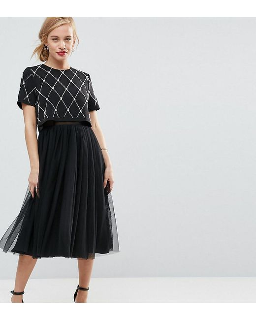 ASOS - Black Embellished Crop Top Midi Tulle Prom Dress - Lyst