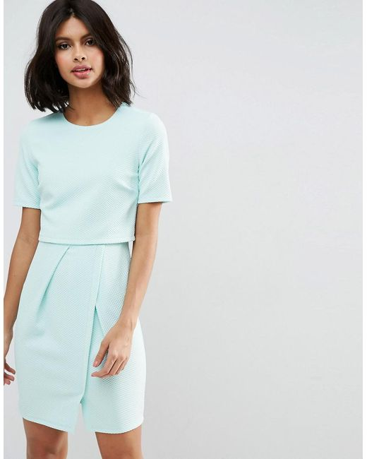 ASOS | Green Textured Double Layer Mini Wiggle Dress | Lyst