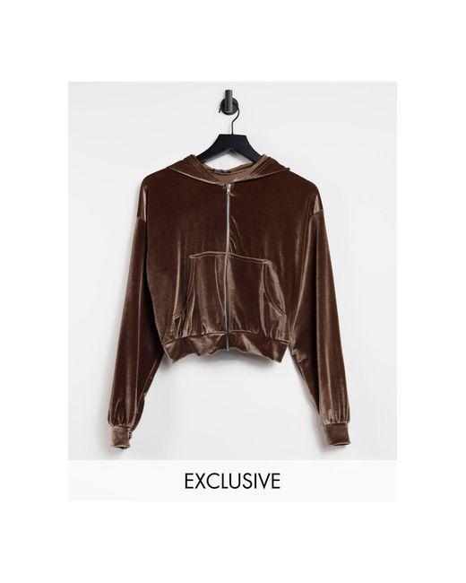 Эксклюзивный Серо-коричневый Велюровый Худи На Молнии От Комплекта -коричневый Цвет Fashionkilla, цвет: Brown