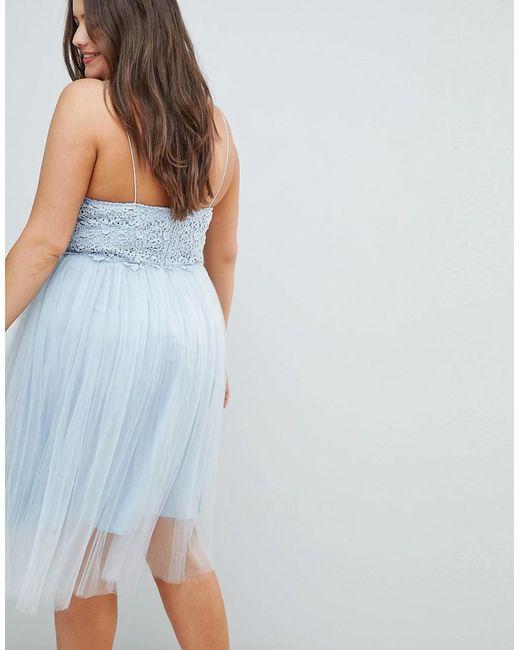 7231bd520 ... ASOS - Blue Asos Design Curve Premium Lace Cami Top Tulle Midi Dress -  Lyst