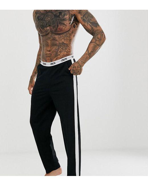 ASOS Pyjamabroek In Zwart Met Zijstreep En Logo-taileband in het Black voor heren