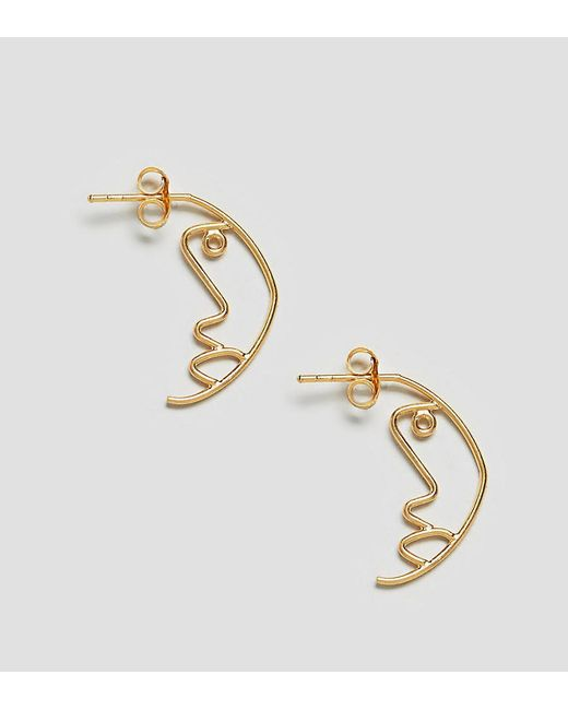 ASOS - Metallic Gold Plated Sterling Silver Face Profile Earrings - Lyst