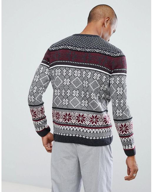 Lyst - Asos Tall Lambswool Fairisle Jumper In Charcoal in Gray for ...