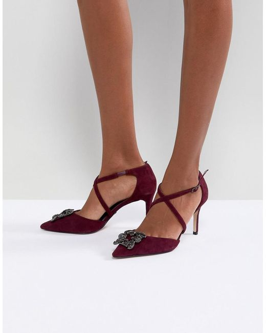 Dune | Red London Pointed Shoe With Crystal Embellishment And Cross Straps | Lyst
