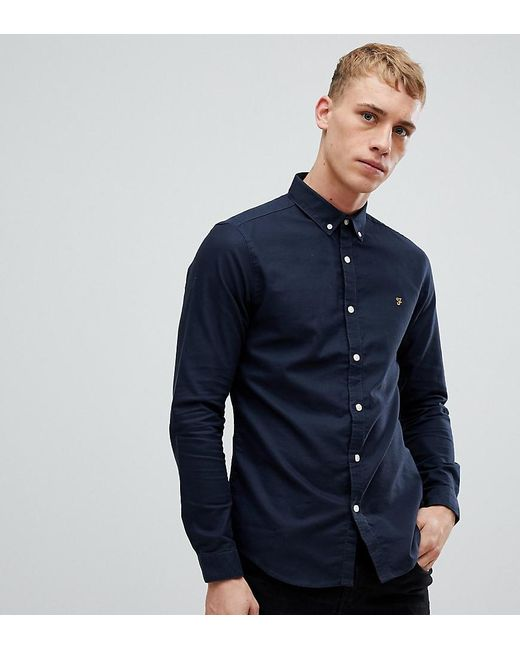 0a37485d780 Farah - Blue Stretch Skinny Fit Oxford Shirt Buttondown Exclusive In Navy  for Men - Lyst ...