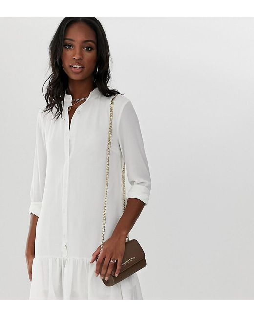 01870bbce10d Missguided Shirt Dress With Peplum Hem In White in White - Lyst