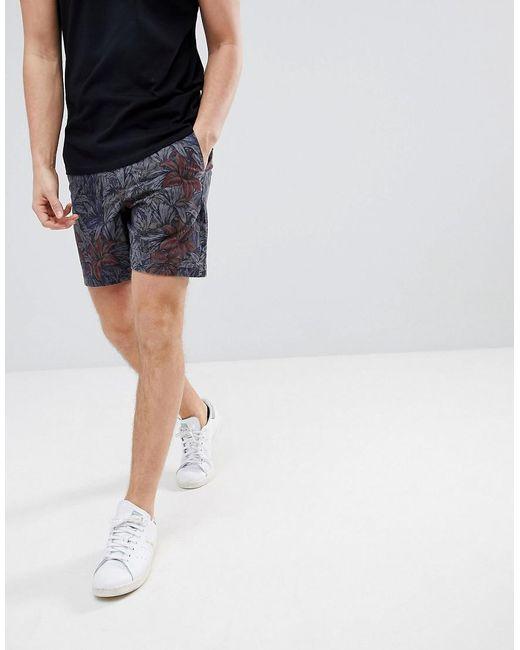 DESIGN Skater Shorts in Checkered Floral Print - Grey Asos Kuq1uUCD