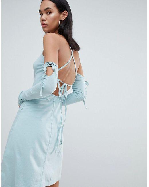 9fd7b90dfda887 ... Weekday - Blue Limited Edition Criss Cross Back Asymmetric Dress - Lyst