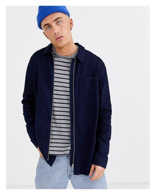 Weekday Blue Zip-thru Denim Shirt for men