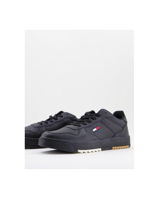 Черные Кожаные Кроссовки С Маленьким Логотипом -черный Tommy Hilfiger для него, цвет: Black