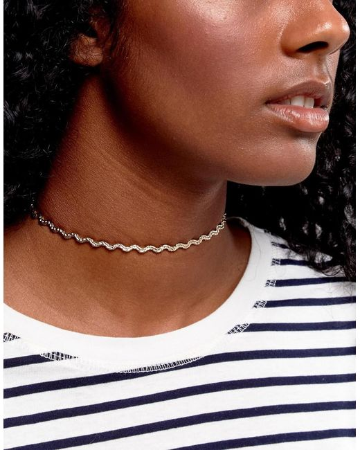 ASOS | Metallic Woven Chain Choker Necklace | Lyst