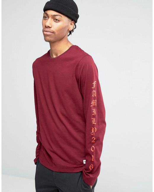 Hype long sleeve t shirt with arm print in red for men lyst for Shirts for men with long arms