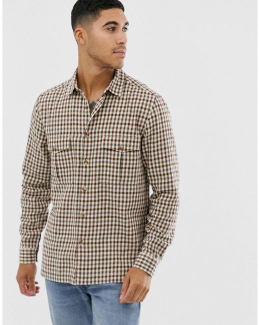 ASOS – Kleinkariertes Hemd in Brown für Herren