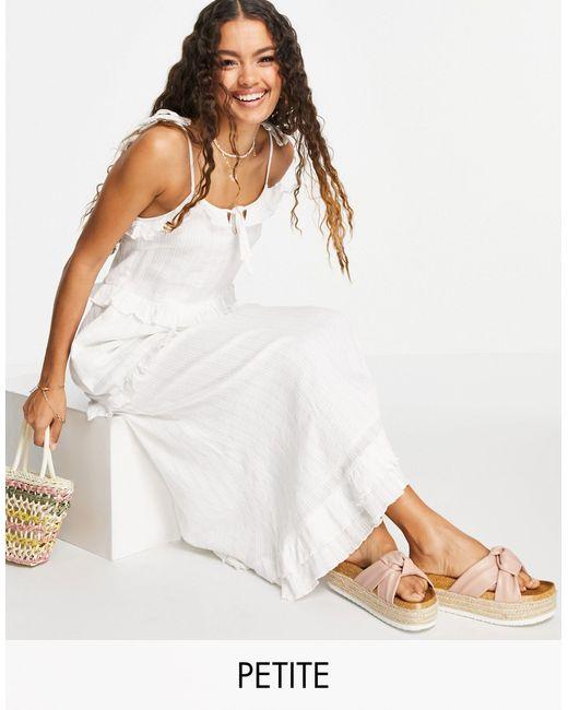 Белое Платье Макси С Оборками -белый Y.A.S Petite, цвет: White