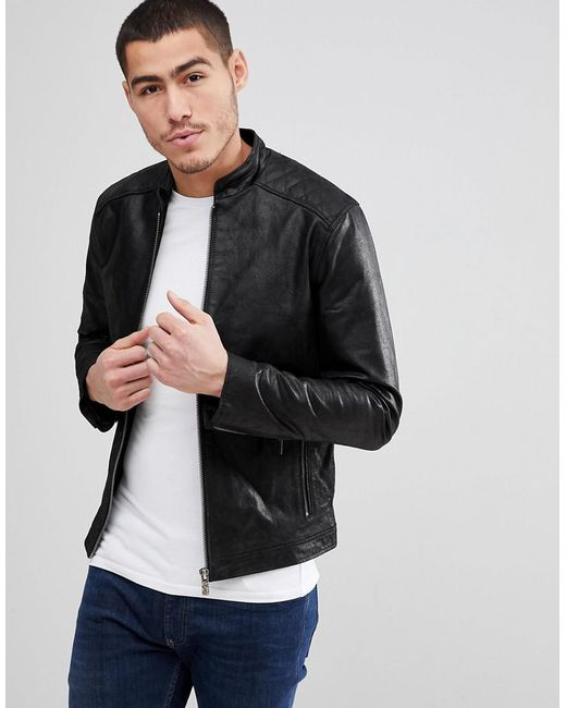 Solid - Black Leather Jacker With Quilting for Men - Lyst