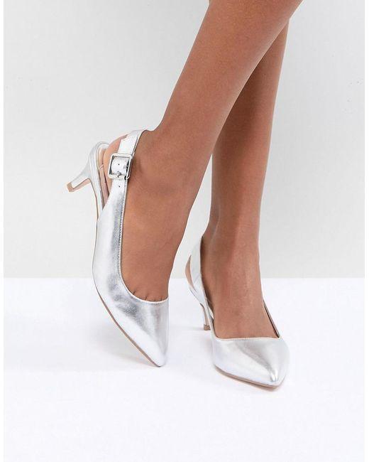 Faith - Kitten Heel Shoe In Silver Metallic - Lyst