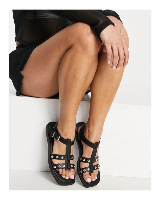 Черные Сандалии С Ремешками С Заклепками -черный New Look, цвет: Black