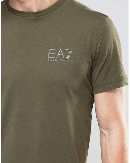 Ea7 Emporio Armani T Shirt With Chest Logo In Khaki