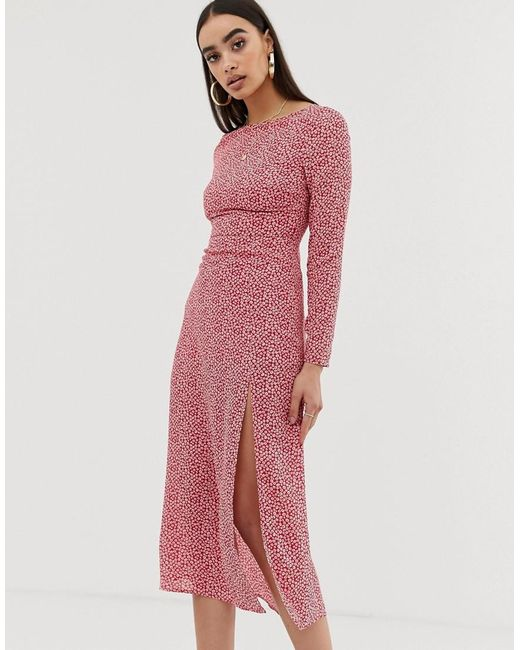magro Superiorità competenza  Fashion Union Synthetic Low Back Midi Dress In Spot in Pink - Lyst
