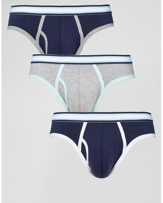 ASOS | Blue Briefs With Stripe Waistband 3 Pack for Men | Lyst