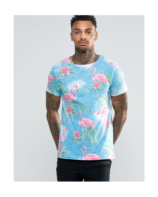 Asos T Shirt With Flamingo Print In Blue For Men Lyst