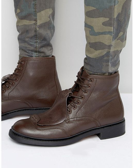 G-Star RAW | Brown Guard Lace Up Leather Boots for Men | Lyst