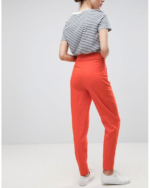 Tailored Clean High Waist Linen Peg Trousers - Orange Asos Tall ImtQJslt0V