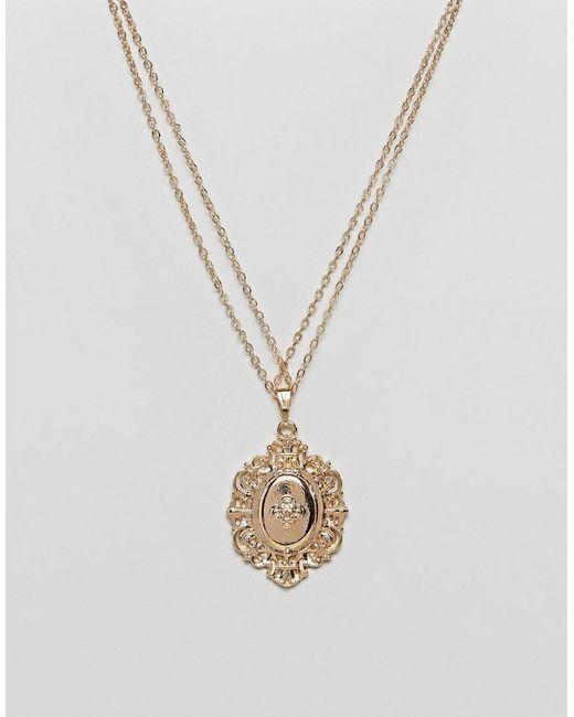 ASOS - Metallic Vintage Style Lucky Locket Necklace - Lyst