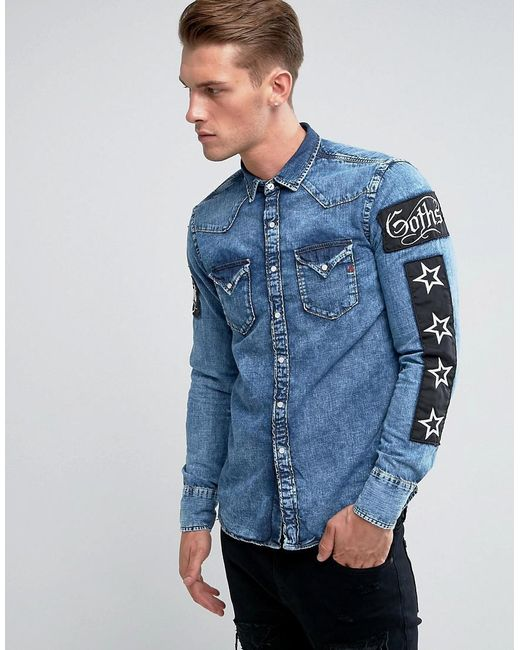 Replay regular fit patches denim shirt in blue for men lyst for Replay blue jeans t shirt