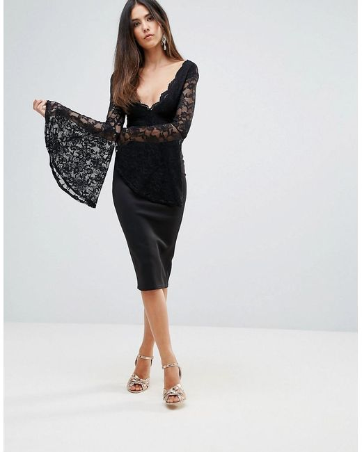 Lyst - Club L Lace Scallop Detail Midi Dress With Flute Sleeve ...