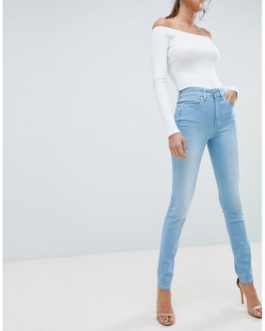 Salsa - Blue Glamour Push Up Mid Rise Skinny Jean - Lyst