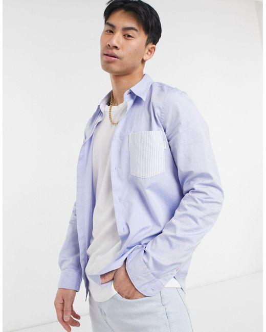 Голубая Рубашка Классического Кроя С Контрастным Карманом И Длинными Рукавами -голубой Paul Smith для него, цвет: Blue