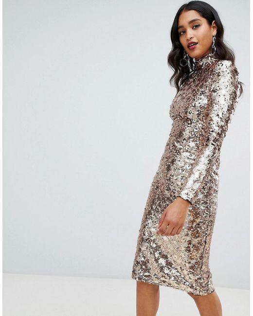 TFNC London Metallic High Neck Sequin Midi Dress In Gold