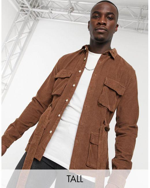 Коричневая Вельветовая Рубашка Навыпуск С Поясом И Карманами ASOS для него, цвет: Brown