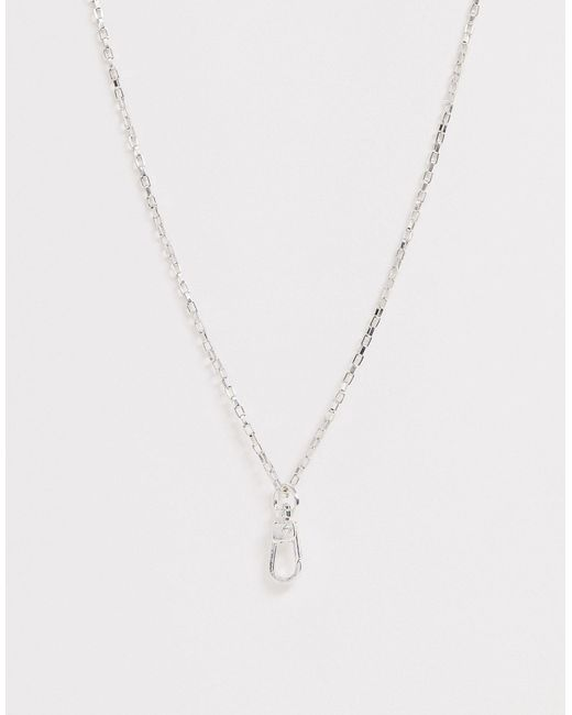 Серебристая Цепочка С Подвеской-карабином -серебряный Icon Brand для него, цвет: Multicolor