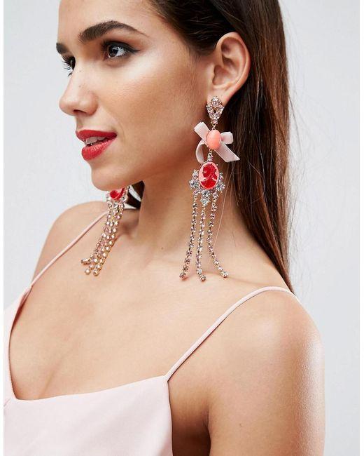 ASOS | Metallic Occasion Cameo Fringe Earrings | Lyst
