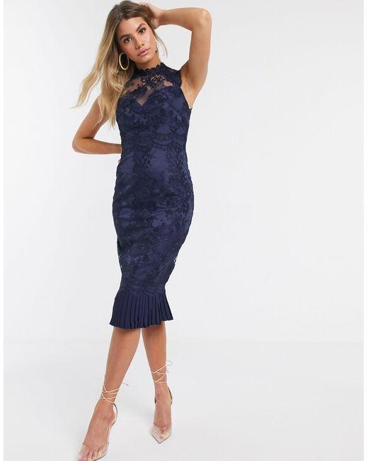 Кружевное Платье-футляр -темно-синий Lipsy, цвет: Blue