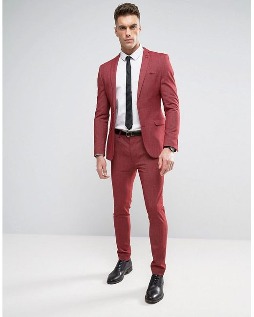 Asos Super Skinny Suit Pants In Red Twist in Red for Men | Lyst