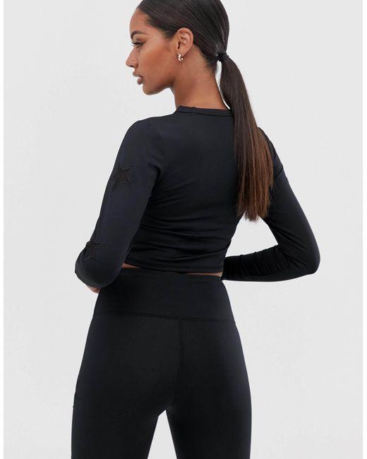 Черная Футболка С Длинным Рукавом И Сетчатой Отделкой В Виде Звезды -черный South Beach, цвет: Black