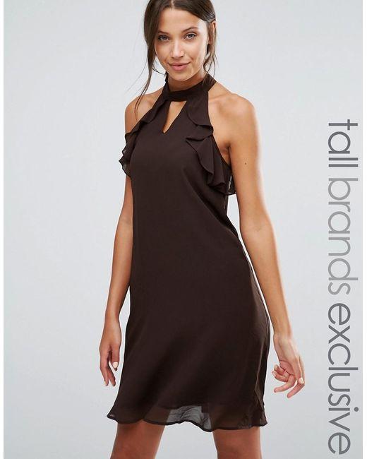 True Decadence | Brown Frill Sleeve Shift Dress | Lyst