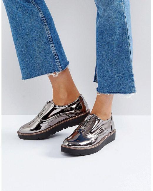 London Rebel - Gray Zip Front Flatform Shoe - Lyst