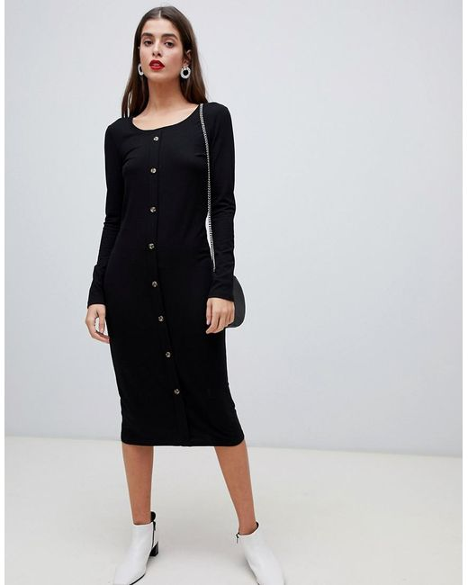 6fd886a38 Women's Ribbed Button Front Midi Dress In Black