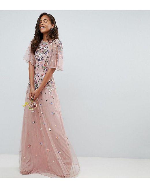 dd9d18b5b6 ASOS - Pink Asos Design Tall Floral Embroidered Dobby Mesh Flutter Sleeve Maxi  Dress - Lyst ...