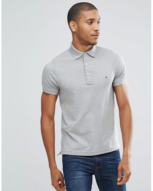 Tommy Hilfiger - Gray Slim Fit Polo In Grey for Men - Lyst