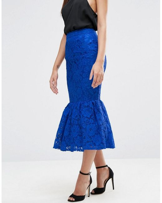 Asos Lace Pencil Skirt With Peplum Hem In Blue Lyst