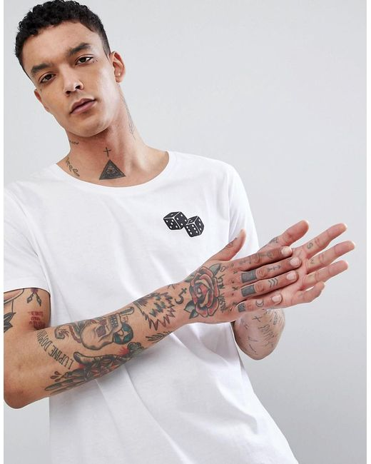 ASOS - White T-shirt Print With Dice Chest Print for Men - Lyst