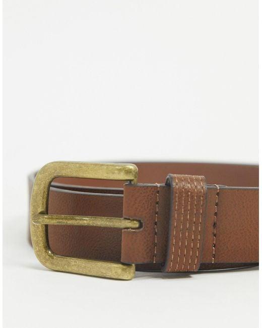 Светло-коричневый Кожаный Ремень Topman для него, цвет: Brown
