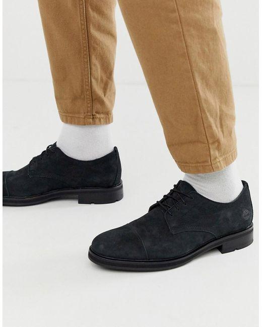 Черные Кожаные Туфли На Шнуровке -черный Timberland для него, цвет: Black