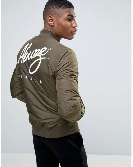 Abuze London | Green Logo Backprint Ma1 Bomber Jacket for Men | Lyst